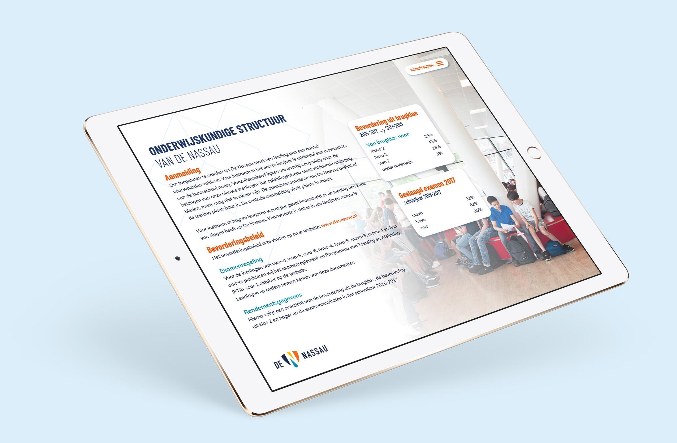 Website van de Nassau op iPad
